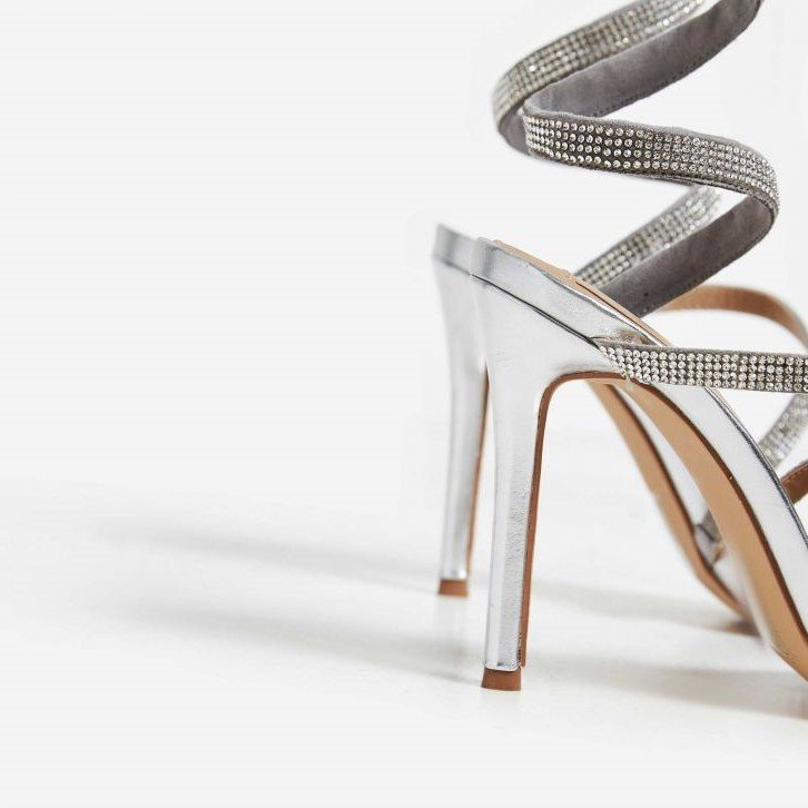 Сребърни спираловидни сандали с кристали DUBAI